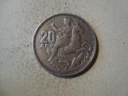 MONNAIE GRECE 20 DRACHMAI 1960 ARGENT - Grèce