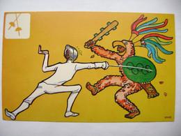 Mexico 68 - Artist EMAUS - Fencing - Rare Vintage Summer Olympics Games 1968 Commemorative Postcard - Unused - Juegos Olímpicos
