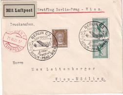 ALLEMAGNE  1927 LETTRE  EN LUFTPOST DE BERLIN   1ER VOL BERLIN-PRAG-WIEN - Briefe U. Dokumente
