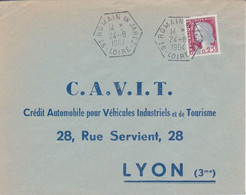 Lettre 1964 TàD Manuel Type RAR E8 42 ST ROMAIN EN JAREZ LOIRE Sur Marianne De Decaris Recette Auxiliaire Rurale - 1961-....