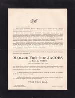 WESTMEERBEEK BERCHEM Adèle De KINDER épouse Frédéric JACOBS 1866-1936 Famille De BONTRIDDER VELGE HANSSENS - Todesanzeige