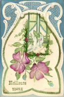 Carte Gaufrée Style Art Nouveau Fleurs Fenetre Colombe Meilleurs Voeux RV - Sonstige