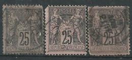 France N° 97 Obl  ( Lot X3 ) - 1876-1898 Sage (Type II)