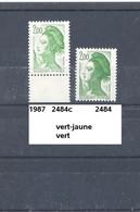 Variété De 1987 Neuf** Y&T N° 2484+c Vert-jaune Clair - Abarten: 1980-89 Ungebraucht