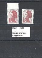 Variété De 1982 Neuf** Y&T N° 2179i  Couleur Brun-orange Au Lieu De Brun-rouge. - Abarten: 1980-89 Ungebraucht
