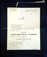 Faire Part De Décès Jean Baptiste Tilmant 7 Janvier 1935 Adressé A Samuel Léquime Jéhovah Bélgique Céres Belgie Timbre - Obituary Notices