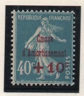 Timbre Neuf 1927 - YT 246 - Semeuse Surchargée Caisse D'Amortissement +10 C. Sur 40 C. Bleu - Caisse D'Amortissement