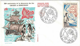 La Réunion - FDC - CFA - Anniversaire Iles Crozet Et Kerguelen - 45f CFA - Lettre Non Voyagée - 30 Janvier 1972 - 1970-1979
