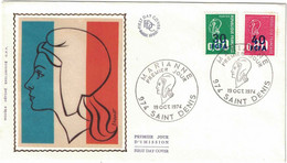 La Réunion - Saint Danis - FDC - FCFA - Marianne De Béquet - 30 Sur 0,60 - 40 Sur 0,80 - 19 Octobre 1974 - 1970-1979