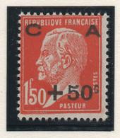 Timbre Neuf 1927 - YT 248 - Pasteur Surchargé Caisse D'Amortissement +50 C. Sur 1F50 Rouge Orange - Cassa Di Ammortamento