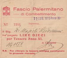 Cedola - Pagamento £10 Per Tessera Anno XI - 1933 - Historical Documents