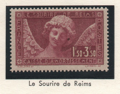 Timbre Neuf 1930 - YT 256 - Le Sourire De Reims - Surtaxe Caisse D'Amortissement 1f50 + 3f50 Lilas - Cassa Di Ammortamento