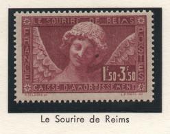 Timbre Neuf 1930 - YT 256 - Le Sourire De Reims - Surtaxe Caisse D'Amortissement 1f50 + 3f50 Lilas - Caisse D'Amortissement