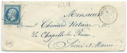 N° 14 BLEU NAPOLEON SUR LETTRE / RIS ORANGIS POUR LA CHAPELLE LA REINE / 6 JANV 1862 / PC 2684 IND 6 - 1849-1876: Periodo Classico
