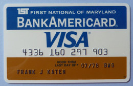 USA - Credit Card - Bank Americard - VISA - 1st First National Bank Of Maryland - Exp 07/78 - Used - Carte Di Credito (scadenza Min. 10 Anni)