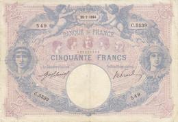 Billet 50 F Bleu Et Rose Du 25-7-1914 FAY 14.27 Alph. C.5539 - 50 F 1889-1927 ''Bleu Et Rose''