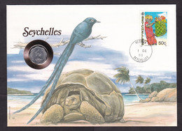 Seychelles: Numismatic Cover, 1988, 1 Stamp, Coin Included, Money, Turtle, Bird, Uncommon (traces Of Use) - Seychelles (1976-...)