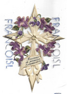 """Croix Et Violettes En Plastique 10 X 15 Cm. Dorée:"""" Souvenir De Première Communion."""" - Religion & Esotérisme"""