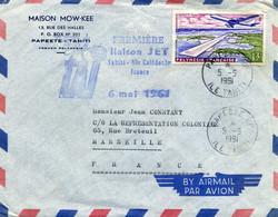 Lettre - Première Liaison JET Thahiti, Nouvelle Calédonie Vers La France: 1961 - First Flight Covers