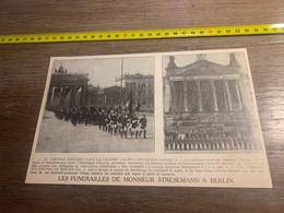 1929 PATI2 Funérailles De Mr Stresemann à Berlin Unter Des Linden Porte De Brandenbourg - Non Classés