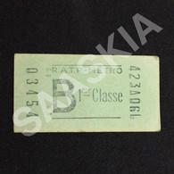 #TPT4 - Ticket Métro 1 ère Classe - B - 03454 - RATP Paris - Europe