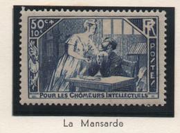 Timbre Neuf 1935 - YT 307 - La Mansarde - Au Profit Des Chômeurs Intellectuels - 50 C. + 10 C. Bleu - Ungebraucht