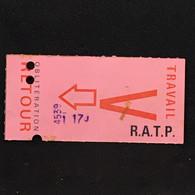 #TPT9 - Métro RATP - Ticket Aller Retour - Paris - Vendredi - Travail - Biface - AF86885 - Europe