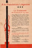 LIEGE (Belgique) - A  LA POPULATION  LIEGEOISE - LA FRATERNELLE  Des Anciens Du 14me De Ligne - Souscription - Historical Documents