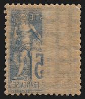 N°101 Variété Impression Recto-verso, Sage 15c Bleu, Neuf * - B/TB - 1876-1898 Sage (Type II)