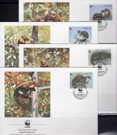 Naturschutz Marder 1992 Set 128 Irland 798/1 4FDC 6€ Dokumentation Edelmarder WWF Wild-life Fauna Pine Marten Cards EIRE - FDC