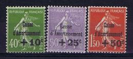 France: Yv 275 - 277  MH/*, Mit Falz, Avec Charnière 1931 Caisse D'Amortissement - Ungebraucht