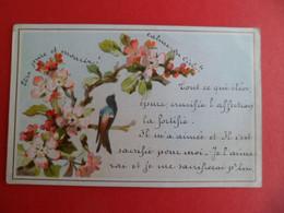 Image Pieuse 1889 Religion Catholique Chromo Gaufrée Oiseau - Religion & Esotericism