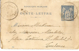 France 1901? - Type Sage 15c Bleu - Carte-lettre De Mazères/Ariège à Toulouse - Letter Cards