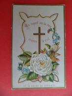 Image Pieuse 1885 Religion Catholique Chromo Un Regard Sur La Croix Et Vers Le Ciel - 1ère Communion - Religion & Esotericism
