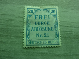Frei Durch Ablösung - Nr 21 - Deutches Reich - Val 20 - Bleu - Neuf Avec Charnière - Année 1903 - - Officials