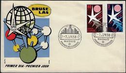 Espagne 1958 Y&T 911 Et 912, Michel 1117 Et 1118, Edifil 1220 Et 1221. Expo'58 Bruxelles Sur FDC - 1958 – Brussels (Belgium)