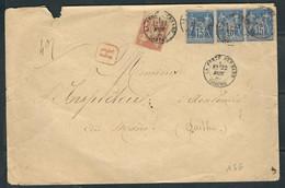 FRANCE 1886 N° 70 & 90 X 3 ( 1 Ex. Def.) Obl. S/Lettre - 1876-1898 Sage (Type II)