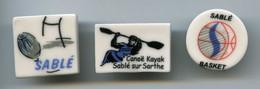 FEVES - FEVE - LOT DE 3 FEVES PERSOS - PATISSERIE THIELIN - SABLÉ SUR SARTHE - CANOE KAYAK - BASKET - RUGBY - Sport