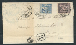 FRANCE 1899 N° 90 & 97  Obl. S/Lettre Recommandée - 1876-1898 Sage (Type II)