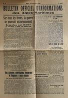 FR - 1944 - BULLETIN OFFICIEL D'INFORMATIONS Des ALPES MARITIMES N° 3 Du 5.9.1944 - BE - Historical Documents
