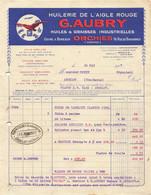 59 NORD ORCHIES HUILERIE DE L'AIGLE ROUGE HUILES & GRAISSES AUBRY FACTURE 1927 + TRAITE A ANDELOT FOISSEY - 1900 – 1949