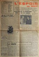 L'ESPOIR De NICE - Quotidien D'Informations Du Soir Pour Le Sud Est N° 1 Du 11.9.1944 - BE - Historical Documents