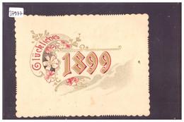 BONNE ANNEE - MILLESIME 1899 - CARTE DE VOEUX DOS NON IMPRIME ( LE CADRE NOIR EST AU FORMAT CARTE POSTALE 9x14 ) - Anno Nuovo