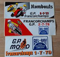 8 STICKERS, AUTO-COLLANTS MOTORSPORT MOTO RACES, FRANCORCHAMPS + PETITE CARTE COMMISION CHRONOMETRAGE - Motorcycle Sport