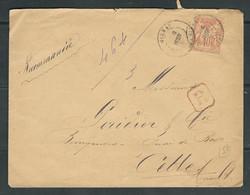 FRANCE 1886 N° 94 Obl. S/Lettre Recommandée - 1876-1898 Sage (Type II)