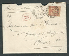 FRANCE 1888 N° 94 Obl. S/Lettre Recommandée - 1876-1898 Sage (Type II)