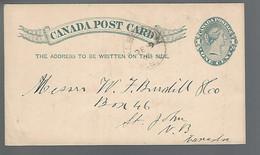 58609) Canada 1 Cent Postcard Postal Stationery Alberton Post Mark Cancel 1890 - 1860-1899 Victoria