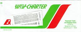 Billet/Ticket D'Avion. Balkan. Bulgarian Airlines. Charter. - Europe