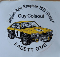 STICKER, AUTO-COLLANT BELGISCH KAMPIOEN 0976 - GROEP 1, GUY COLSOUL, KADETT GT/E - Rally Racing