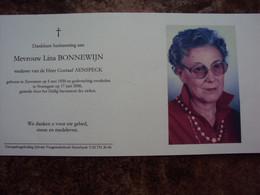 Doodsprentje/Bidprentje      Lina BONNEWIJN (Wwe Gustaaf AENSPECK) Zaventem 1920 - 2006 Nossegem - Religion & Esotericism